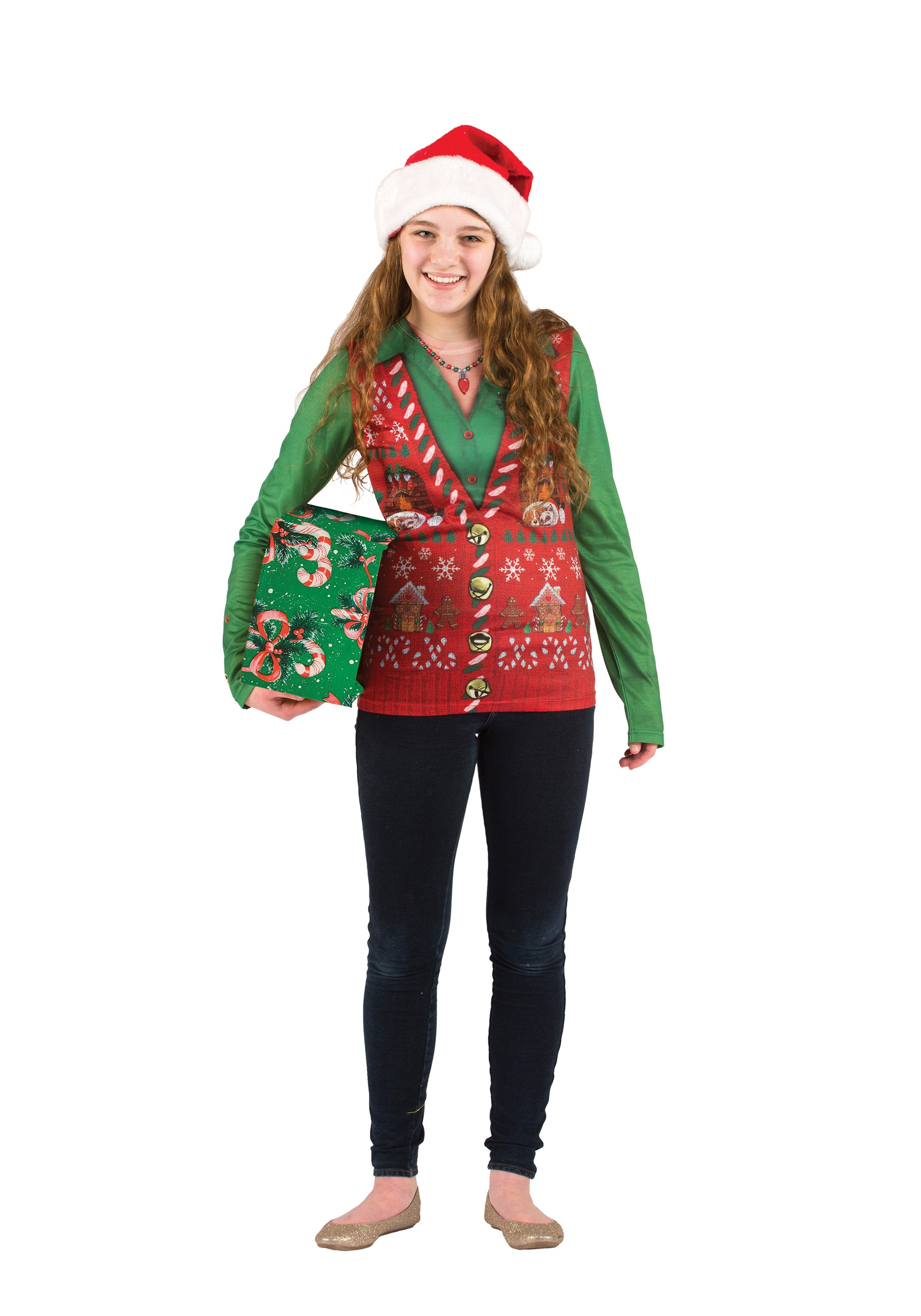 Womens Ugly Christmas Sweater Vest - Halloween Costumes